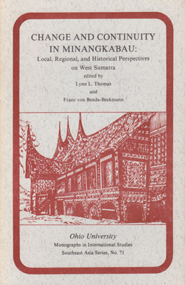 Cover of 'Change and Continuity in Minangkabau'